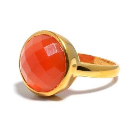Orange Chalcedony Gemstone Ring