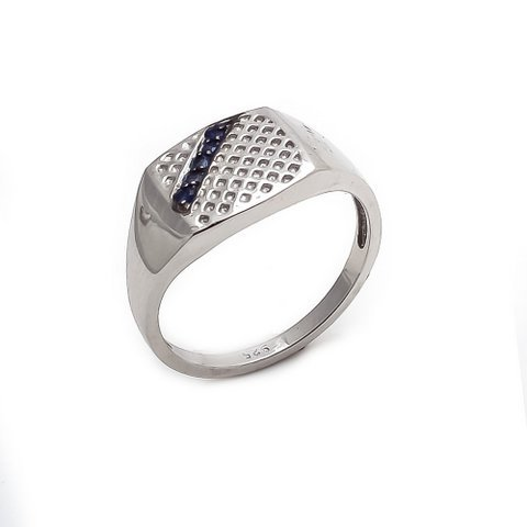 Natural Sapphire Gemstone Silver Mens ring