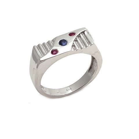 Natural Ruby & Sapphire Gemstone Charm Sterling Silver Mens ring