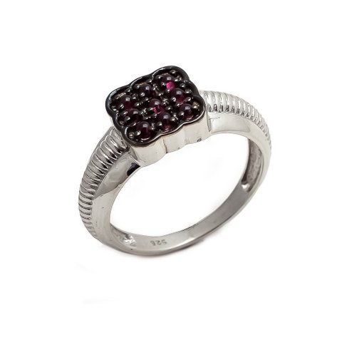 Natural Garnet Gemstone Silver Designer Mens ring