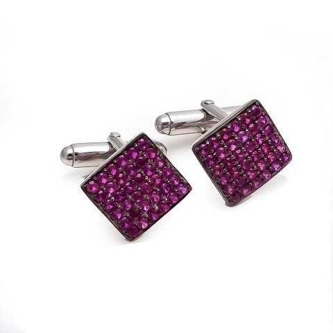 Natural Ruby Gemstone Designer Mens Cufflinks