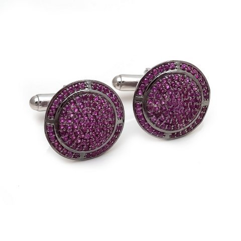 Natural Ruby Gemstone Unique Designer Mens Cufflinks