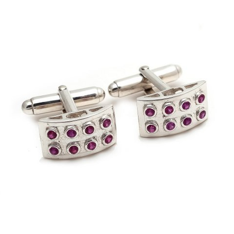 Natural Ruby Gemstone Charm Mens Cufflinks