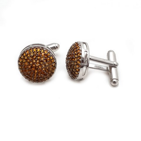 Golden Gemstone Charm Mens Cufflinks