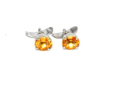 Natural Golden Topaz/ Citrine Gemstone Charm Mens Cufflinks