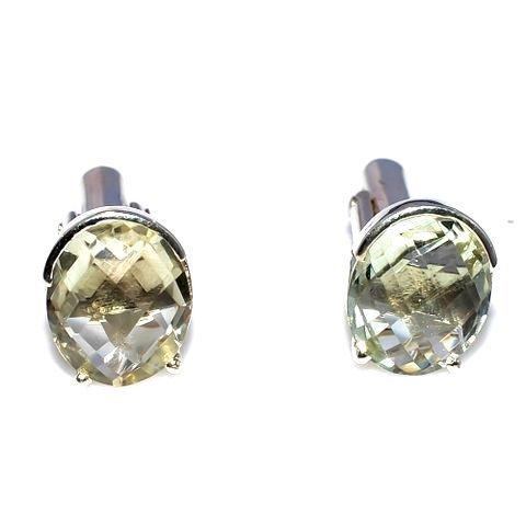 Natural Green Amethyst Gemstone Charm Mens Cufflinks