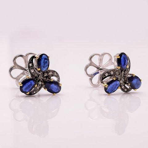 Natural Sapphire & Diamond Gemstone Charm Unique Piece Mens Cufflinks