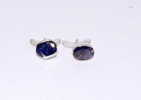Blue Sapphire Oval Gemstone Men Cufflings