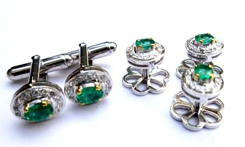 Natural Emerald Gemstone Mens Designer Cufflinks