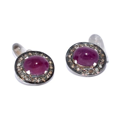 Natural Ruby & Diamond Gemstone Sterling Silver Mens Cufflinks