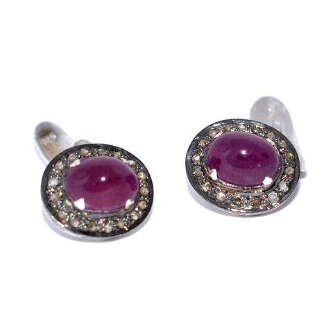 Natural Ruby & Diamond Gemstone Sterling Silver Mens Cufflinks