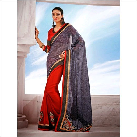 Fancy Grey and Red saree