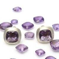 Natural Amethyst Gemstone bezel Sterling Silver Mens Cufflings