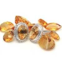 Natural Golden Topaz/ Citrine Gemstone Charm Silver Mens Cufflinks