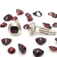 Natural Garnet Gemstone Charm Mens Cufflinks