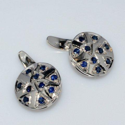 Natural Sapphire Gemstone Charm Sterling Silver Mens Cufflinks