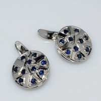 Natural Sapphire Gemstone Charm Sterling Silver Mens Cufflinks