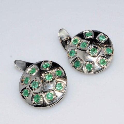Natural Emerald Gemstone Silver Mens Simple Cufflinks