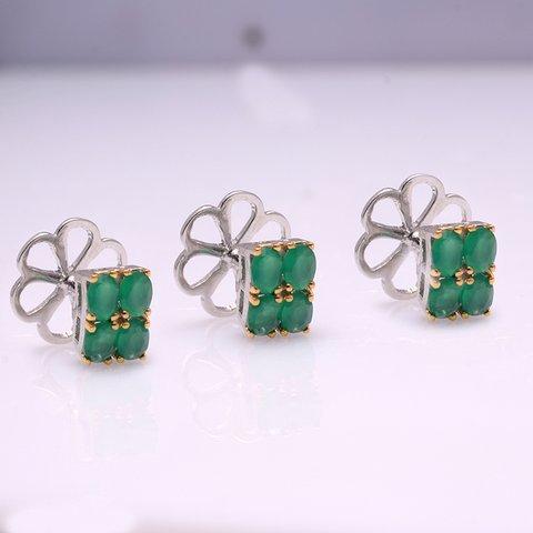Natural Emerald Gemstone Charm Mens Cufflinks
