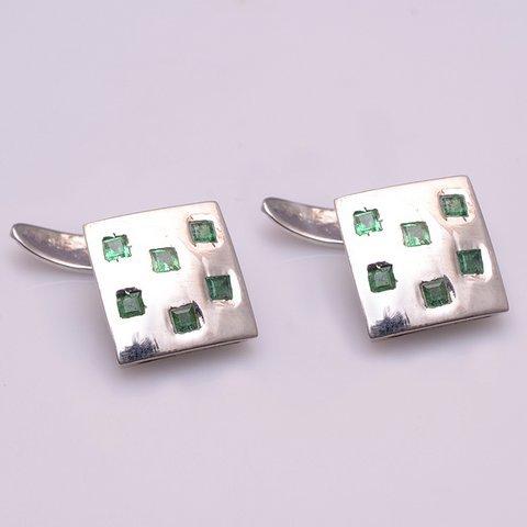 Natural Emerald Gemstone Silver Fashion Mens Cufflinks