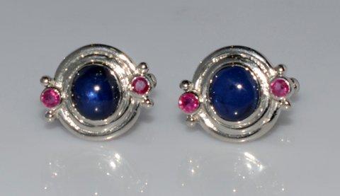 Natural Sapphire & Ruby Gemstone Men Cufflings