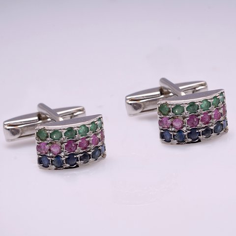 Multi Precious Gemstone Modern Men Cufflinks