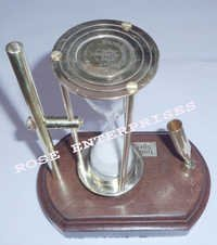 Brass Sand Timer with Pen Holder (Wooden Base)