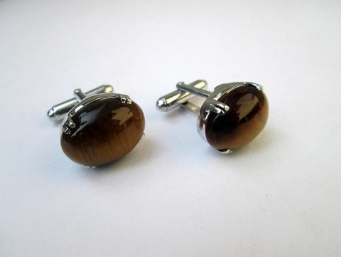 Tiger Eye Oval Charm Gemstone Men Cufflings