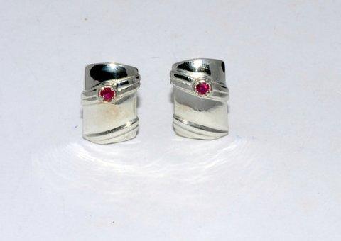 Natural Ruby Gemstone Charm Mens Cufflinkss