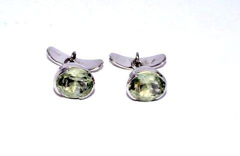 Natural Green Amethyst Gemstone Mens Cufflinks