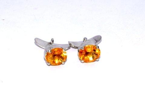 Natural Golden Topaz Gemstone Mens Cufflinks