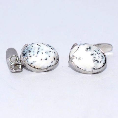 Natural dendritic Opal Gemstone Mens Cufflinks