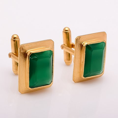Green Onyx Gemstone Men Cufflinks