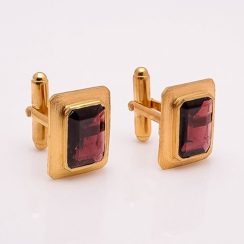 Garnet Gemstone Men Cufflinks