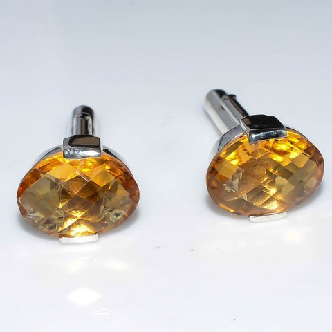 Golden Topaz Gemstone Men Cufflinks