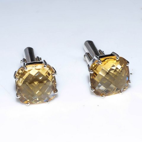Golden Topaz Gemstone Men Cufflinks