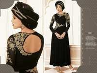 Elegant Black Partywear Anarkali Suit