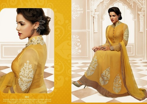 Elegent Yellow Partywear Long Anarkali Suit