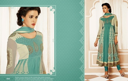 Wonderful Green Embroidered Salwar Kameez