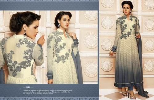 Beautiful Off White And Grey Anarkali Suit