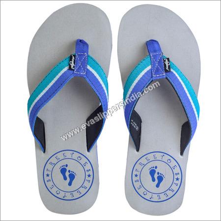 Grey Blue Flip Flops