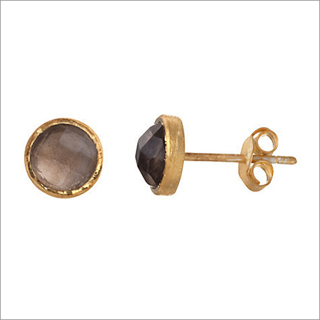 Smoky topaz Gemstone Ear Studs