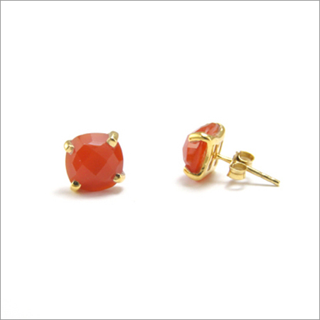 Orange Chalcedony Gemstone stud