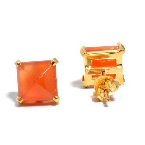 Orange Chalcedony Gemstone Ear Studs