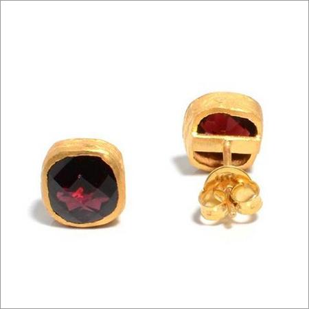 Garnet Gemstone  Studs