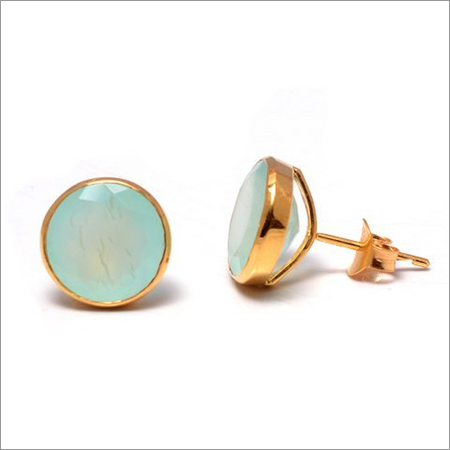 Aqua Chalcedony Gemstone Ear Studs