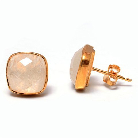 Pink Chalcedony Gemstone  Studs