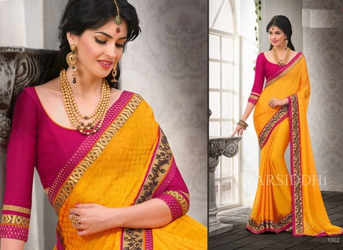 Indian Latest partywear yellow saree