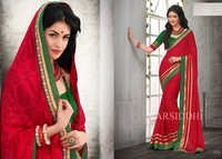 Wonderful red festive designer saree 1003