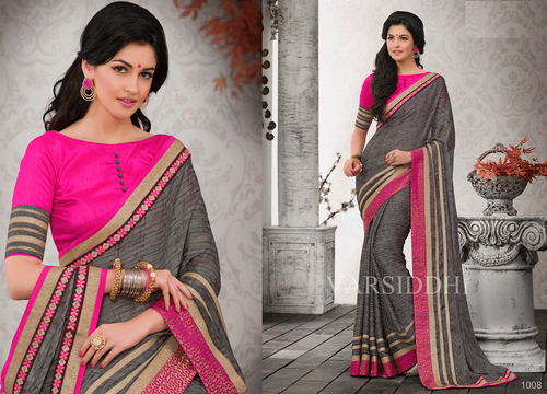 Indian Latest Grey designer party wear saree 1008
